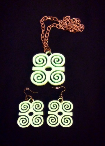 Adinkra symbols pendant and earrings sets 3D Print 26456