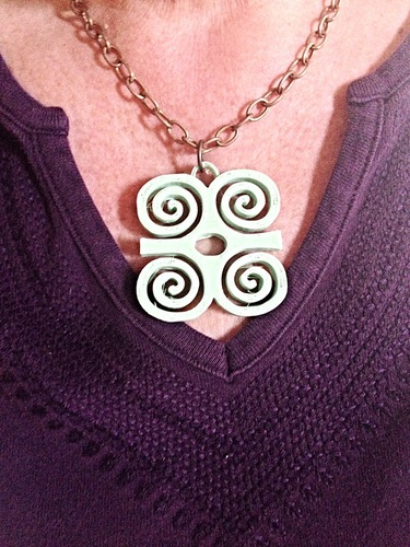 Adinkra symbols pendant and earrings sets 3D Print 26457