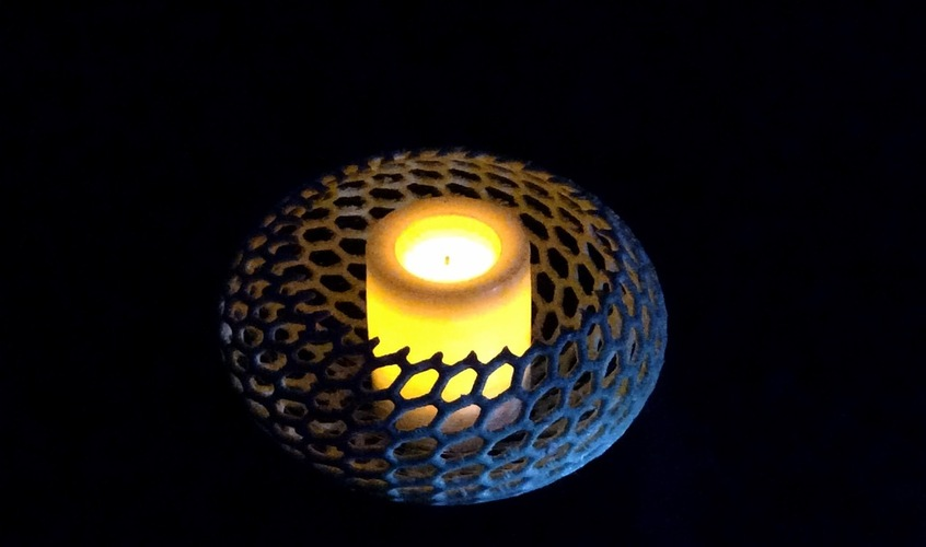 Vornoi-style Tea Light Holder 3D Print 26465