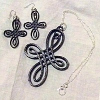Small Celtic knot cross and earrings 3D Printing 26473