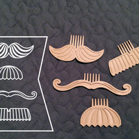 Small Movember Stache Combs 3D Printing 26777