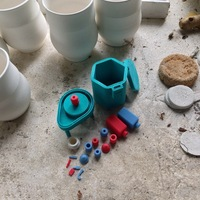 Small Pottery Wheel & Kiln Toy Set 3D Printing 26790