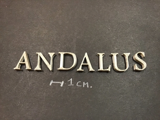 3d printed andalus font uppercase 3d letters stl file by 3dletters pinshape pinshape