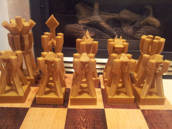 Chess Set Geometric Scaffolds mk1 3D Print 26975