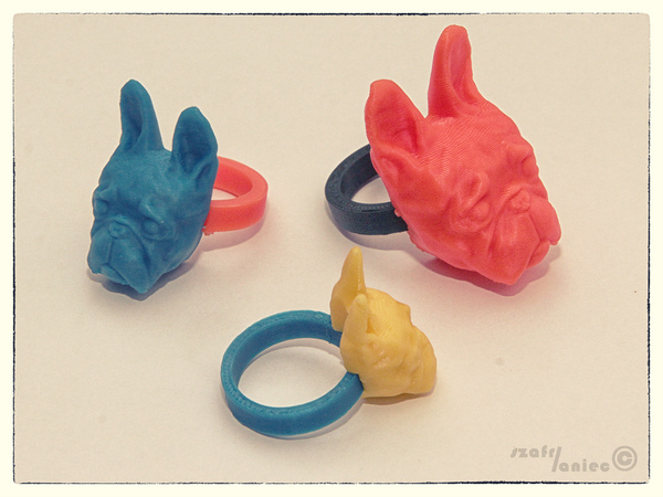 Medium French Buldog  - RING (universal 4 ring size)  3D Printing 27045