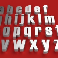 Small HAETTEN Font lowercase 3D letters STL file 3D Printing 270638