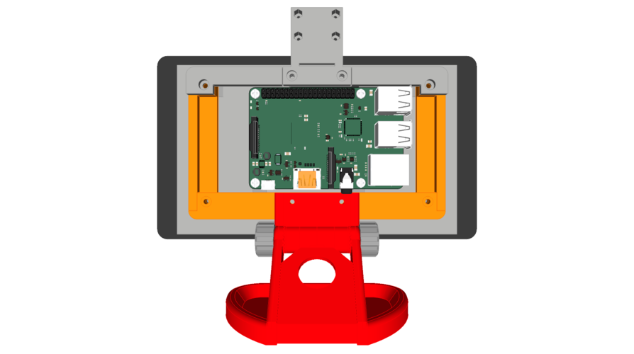 PiMac - Raspberry Pi 7 Inch Touch Screen Stand (with Camera) V2 3D Print 271509