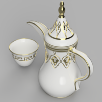 Small Arabic Coffee Pot and Cup 3D Printing 271672