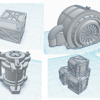 Small 28mm scale scatter terrain - Crates, Power Cell and Turbine 3D Printing 272309