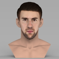 Small Michael Phelps bust ready for full color 3D printing 3D Printing 274702