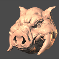 Small Monster Boar Head 3D Printing 275199