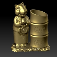 Small China Year of the Rat Fortune Pen holder 3 3D Printing 276302