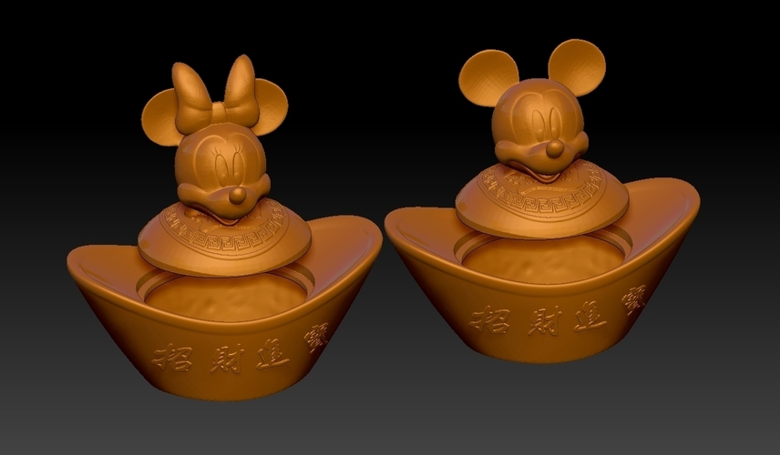 Mickey Minnie China New Year Candy Jar 3D Print 276310