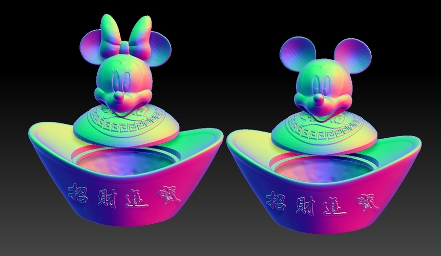 Mickey Minnie China New Year Candy Jar 3D Print 276311