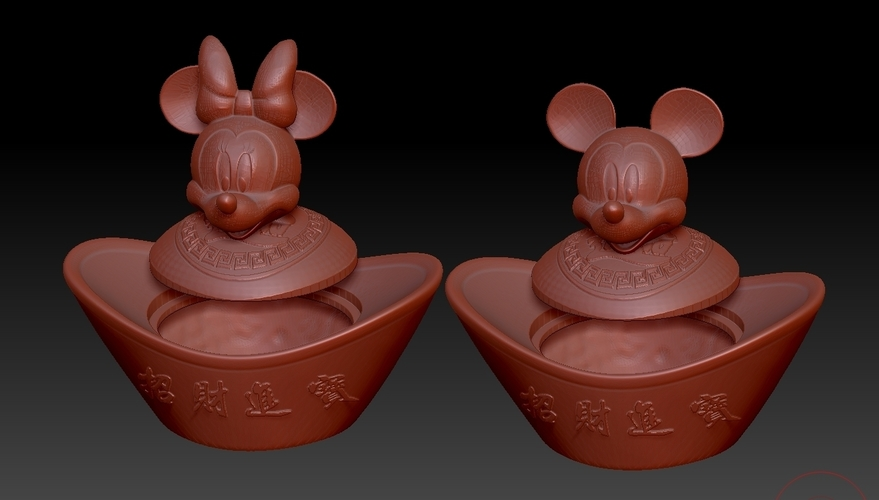 Mickey Minnie China New Year Candy Jar 3D Print 276312