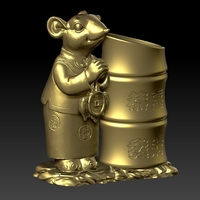Small Lucky Rat Happy Chinese new year Festive Pen Holder 5 3D Printing 276313