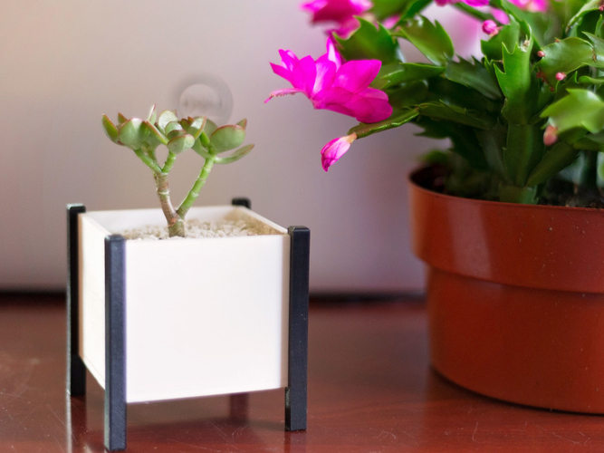 Modern Square Planter Box 3D Print 276351