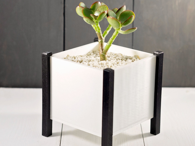 Modern Square Planter Box 3D Print 276354