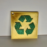 Small Recycle Sign: Wall/Desk Display or Keychain 3D Printing 276782