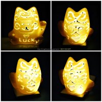 Small Lucky Cat Lamps carved 3D Printing 27707