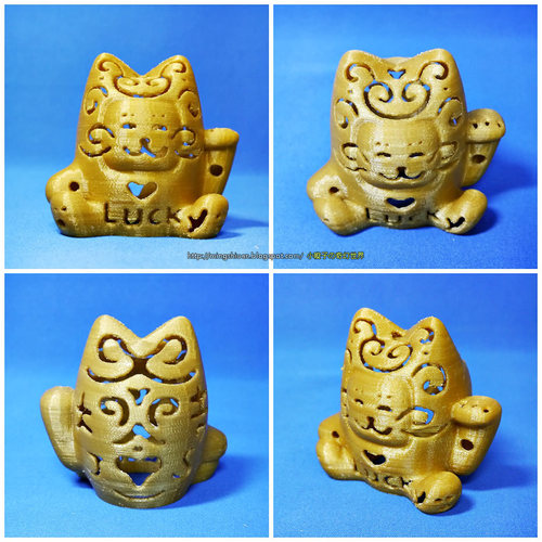 Lucky Cat Lamps carved 3D Print 27709