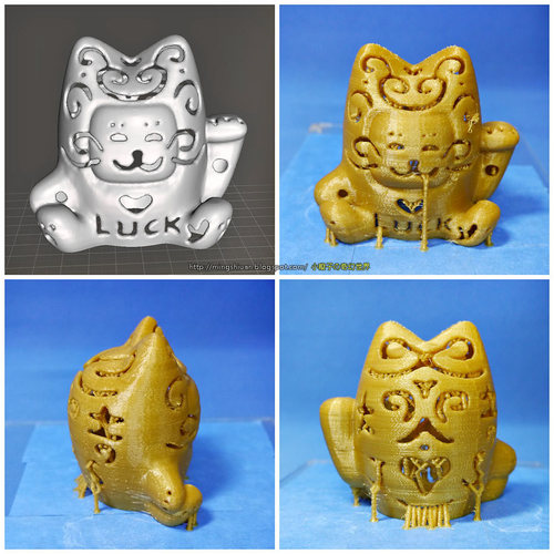Lucky Cat Lamps carved 3D Print 27710