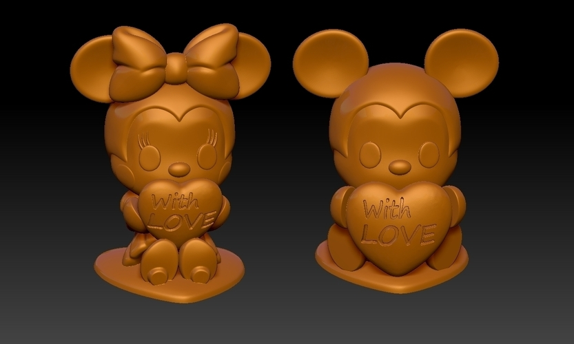Mickey Minnie With Love Valentine's Day Pendants & Decorations 3D Print 278142