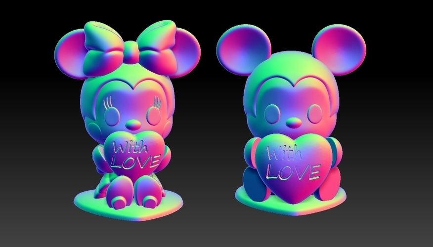 Mickey Minnie With Love Valentine's Day Pendants & Decorations 3D Print 278143