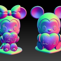 Small Mickey Minnie With Love Valentine's Day Pendants & Decorations 3D Printing 278143