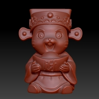 Small Happy Chinese New Year Lucky Rat Congratulations on Big Money 3D Printing 278227