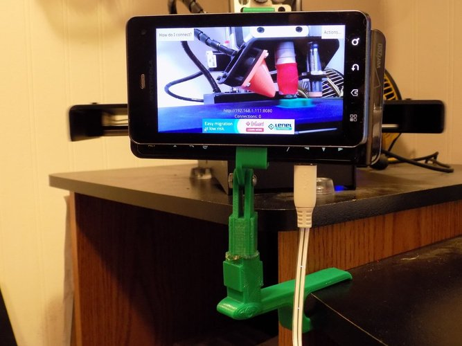 Adjustable Clamp for Phone as Wifi Cam 3D Print 27828