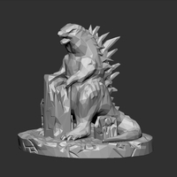 Small Godzilla Low Poly 3D Printing 27930