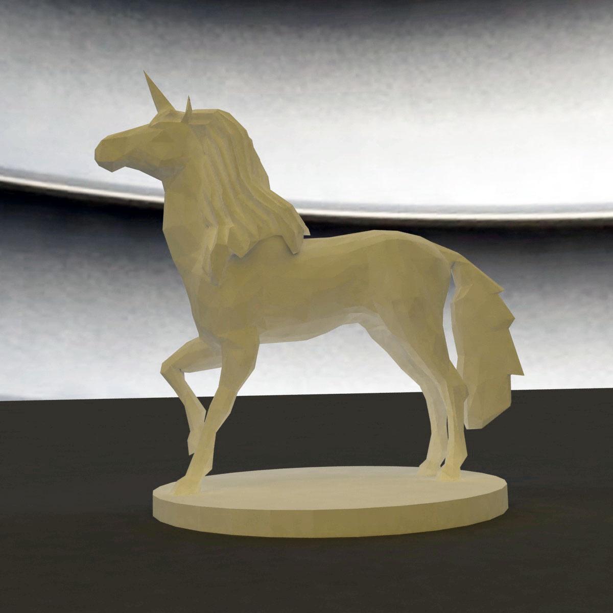 3d Printed Unicorn Low Poly By Zbrushingmx Pinshape