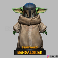 Small Yoda Baby with Mandalorian Helmet High quality 3D Printing 281714
