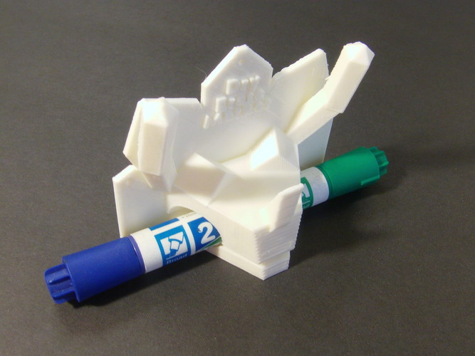 Triceratops Low Poly Dry Erase Marker Holder 3D Print 28177