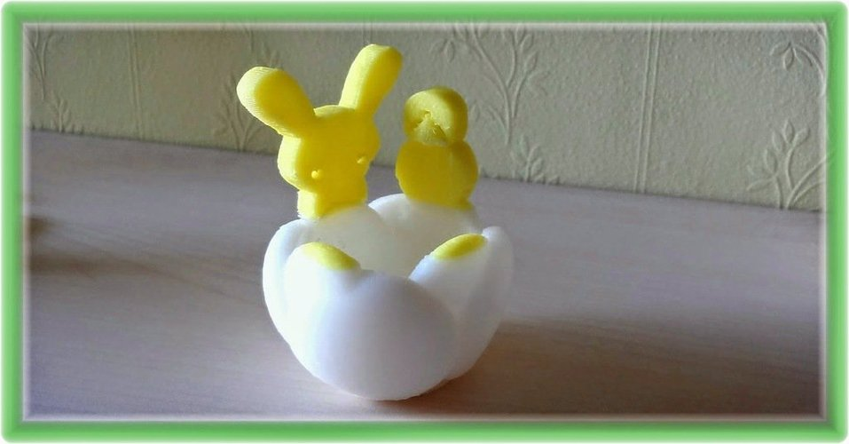 Tulip shaped egg-shell with Easter attributes 3D Print 28243