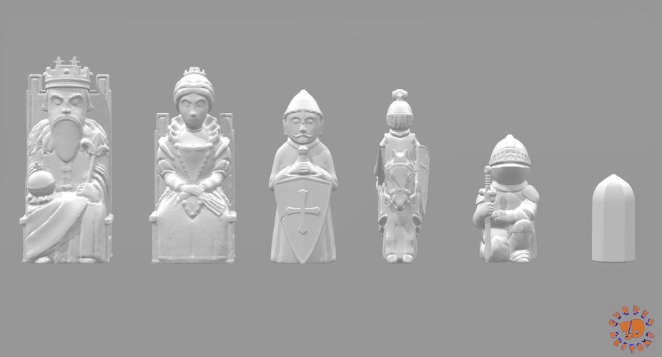 Medieval Times Themed Chess Set 3D Print 283374