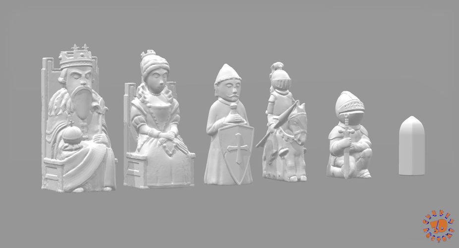 Medieval Times Themed Chess Set 3D Print 283375