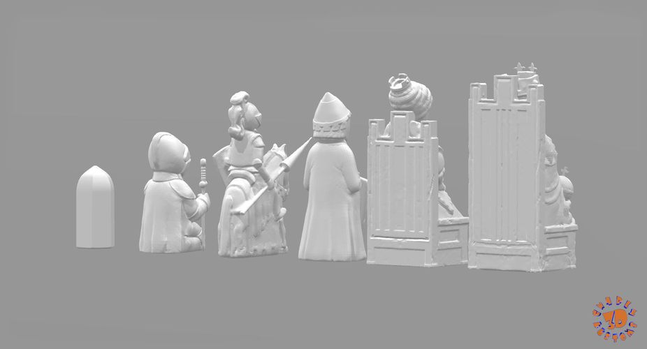 Medieval Times Themed Chess Set 3D Print 283376