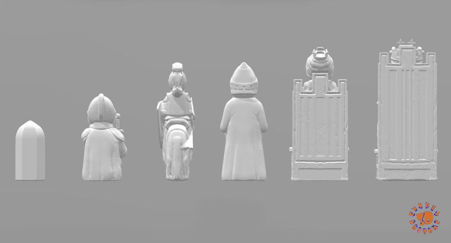 Medieval Times Themed Chess Set 3D Print 283377
