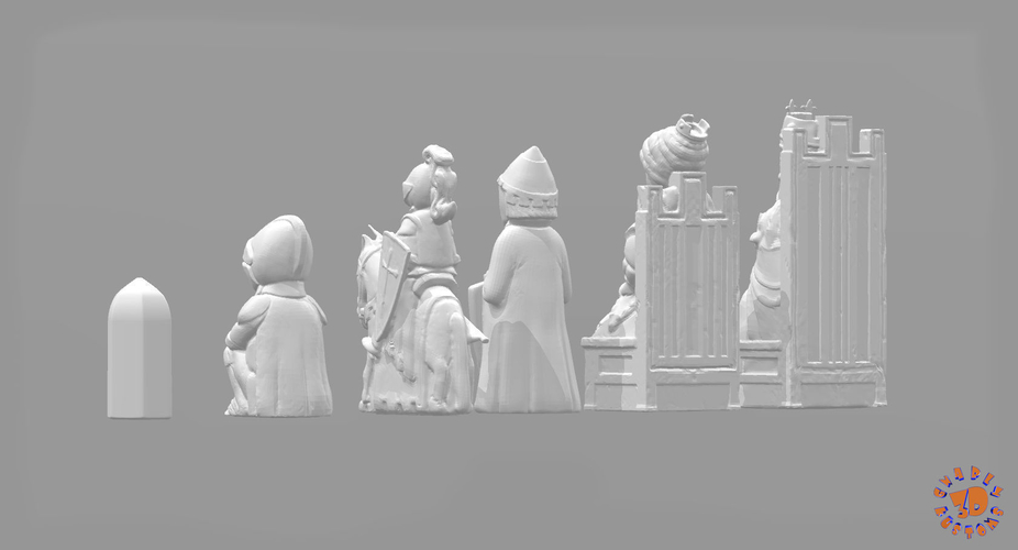 Medieval Times Themed Chess Set 3D Print 283378