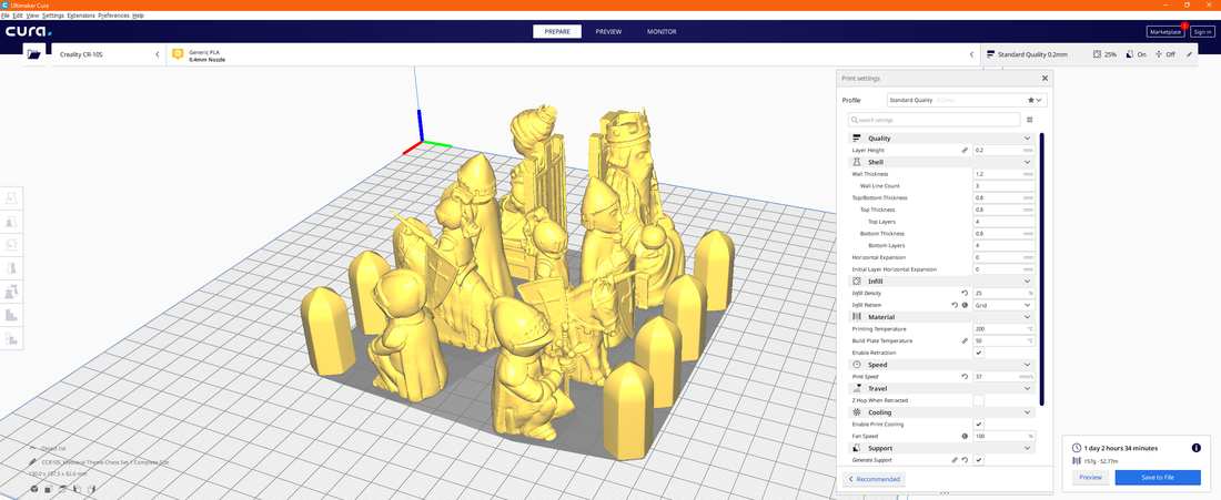 Medieval Times Themed Chess Set 3D Print 283445
