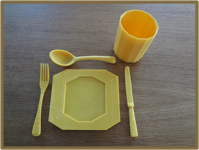 cutlery, plate and cup 3D Print 28351
