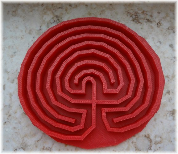 Classical round seven path labyrinth 3D Print 28375