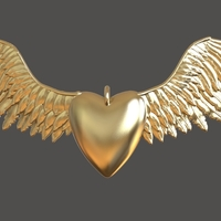 Small Heart and Wings Pendant 3D Printing 283754