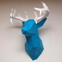 Small Faceted Deer Head 3D Printing 28411