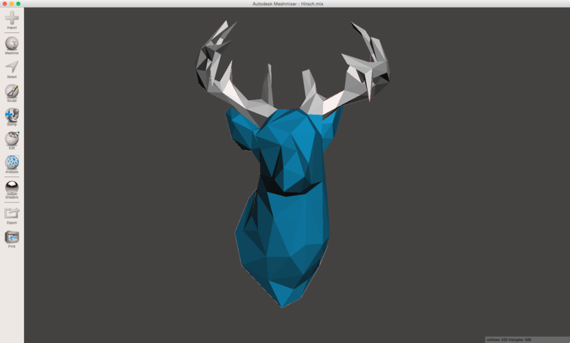 Faceted Deer Head 3D Print 28412