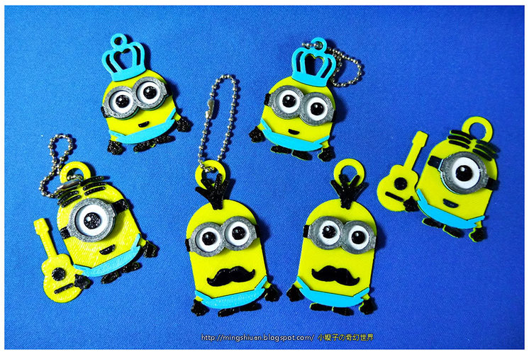 Minions Keychain / Magnets - Father's Day cute version 3D Print 28494