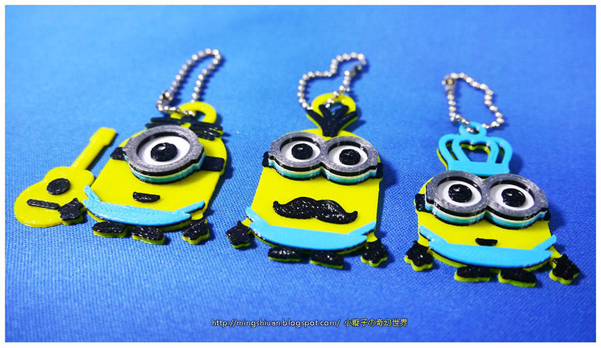 Minions Keychain / Magnets - Father's Day cute version 3D Print 28496