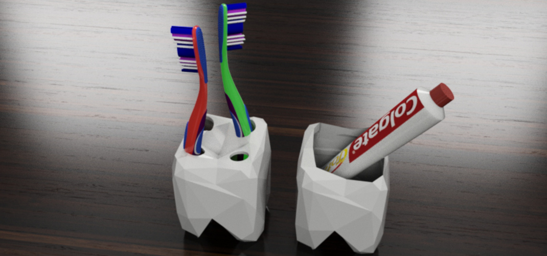Low Poly Toothbrush and Toothpaste holder 3D Print 28509